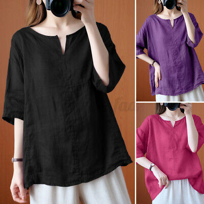 AU16.83 • Buy PLUS SIZE Womens Tops Blouse Cotton Line Vintage 3/4 Sleeve Tee T Shirts Holiday