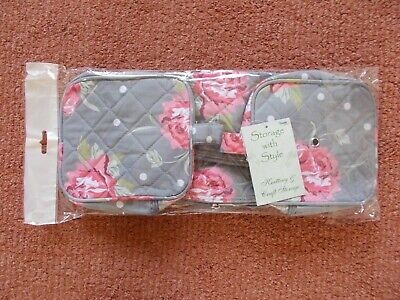 £8.99 • Buy Knitting / Craft Storage Bag  Rectangle Grey With Flowers New