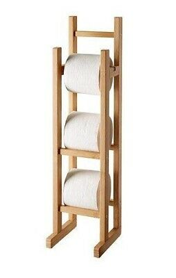 £11.99 • Buy Toilet Tissue Roll Holder Bamboo Wood Free Standing Extra Storage Stand