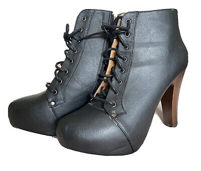 £30 • Buy Charlotte Russe Lace Up Zip High Heel Platform Ankle Bootie Boots UK Size 8
