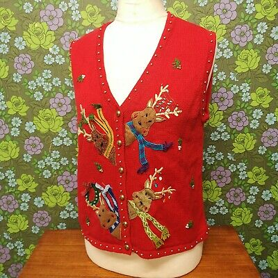 £19.99 • Buy Vintage Red Reindeer Knitted Ugly Christmas Pullover Tank Top (jumper) Sz L