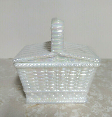 $35.88 • Buy Vtg Westmoreland Milk White Canival Glass Picnic Basket With Lid Candy Dish