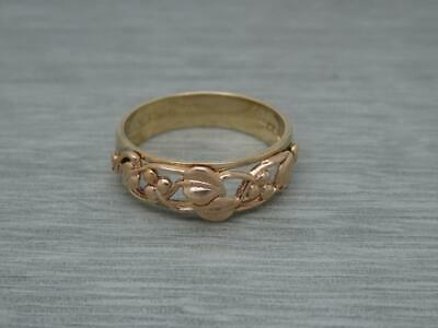 £295 • Buy Rare Vintage Clogau Welsh Gold 9ct Yellow & Rose Gold Floral Band Ring,c1998