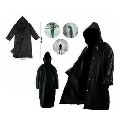 £3.95 • Buy Waterproof  Rain Coat Jacket With Button Mens And  Womens Long Hooded Raincoat