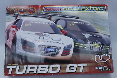 £9.99 • Buy MICRO SCALEXTRIC 1:64 Scale Turbo GT Slot Car Set With 2x Audi Cars BOXED - P15