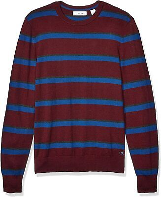 $8.99 • Buy Calvin Klein Mens Sweater Red Blue Gray Large L Crewneck Stripe Pullover $89 178