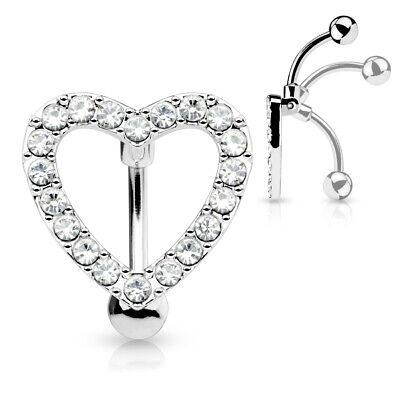 £5 • Buy  REVERSE DROP TOP DOWN BELLY BAR  HEART ENCRUSTED WITH CLEAR CRYSTAL Cz