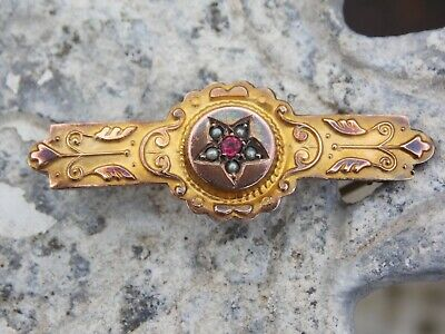 £55 • Buy Antique 9ct Gold Victorian Etruscan Brooch With Seed Pearls & Ruby Or Garnet