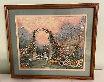 £34.61 • Buy Counted Cross Stitch Garden Floral Completed Framed Finished Cottage