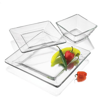 $34.99 • Buy 12 Piece Square Dinnerware Glass Clear Dishes Salad Plate Bowl Kitchen Set For 4