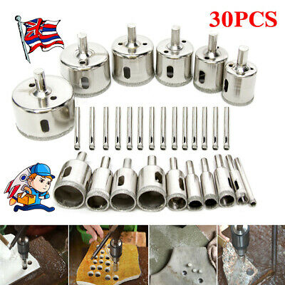 £15.95 • Buy 30x Diamond Cutter Coated Core Hole Saw Set Hole Saw Drill Bit Tile For Glass UK