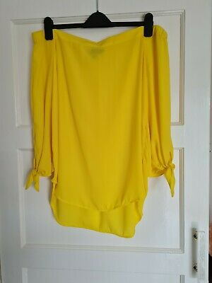 £1 • Buy Womans Bright Yellow Bandeau Style 3/4 Sleeve Top Size 14