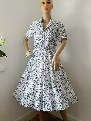 £14.99 • Buy 1990s Does 50s Rockabilly Full Circle Black And White Pattern  Dress Fits Sz 10