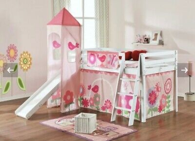 £320 • Buy Uk New White Wooden Single Cabin Bed With Slide And Tents Girls Pink Play Den