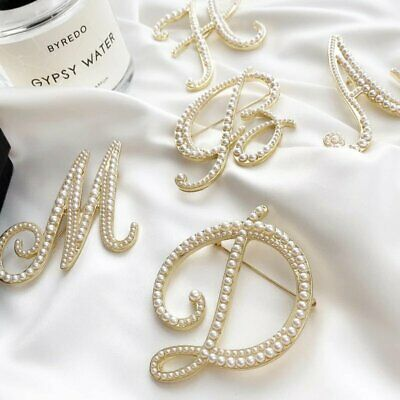 £1.72 • Buy Fashion Simulated Pearl Letters Initial Alphabet Brooch Pin Women Party Jewelry