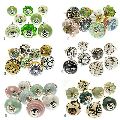 £21.90 • Buy Ceramic Cupboard Door Knobs Darwer Pulls In Sets Of 8 Upcycle Decor From Sussex