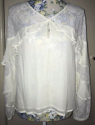 AU20 • Buy FOREVER NEW Victoria Frilled Sleeve Blouse Size 12 BNWT