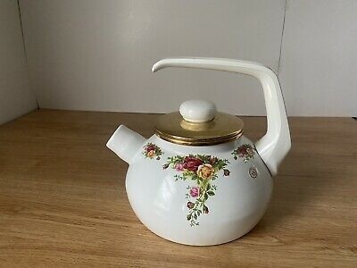$24.98 • Buy 2002 RA Royal Albert Brass Enamel Tea Pot With Topper Old Country Rose ****(RED)