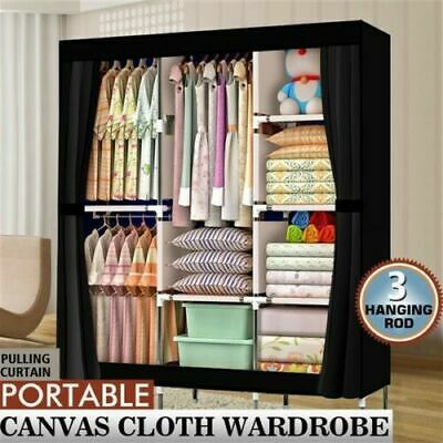 £19.99 • Buy Large Portable Fabric Canvas Wardrobe W/ 2 Hanging Rail Clothes Storage Cupboard