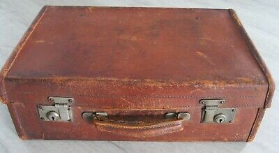 £19.99 • Buy 1940s Vintage Brown Leather Suitcase 50 X 32 X 16cms, Shabby Chic