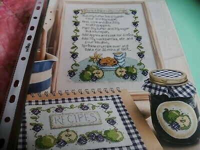 £1.25 • Buy Cross Stitch Chart Apple & Blackberry Crumble Recipe Set Charts Only