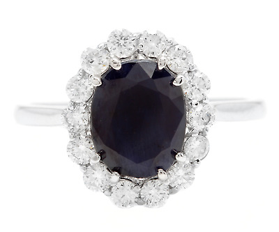 AU1212.20 • Buy 3.60 Carats Natural Sapphire And Diamond 14K Solid White Gold Ring