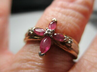 £21.58 • Buy Sterling Silver 925 Estate D/m Red Ruby Diamond Cross 2 Tone Band Ring Size 8