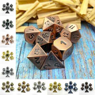 AU26.66 • Buy 7Pcs/Set Metal Polyhedral Dice For DND RPG MTG Dungeons & Dragons Table Game Toy