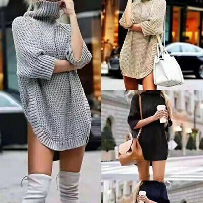 £9.98 • Buy UK Winter Womens High Neck Jumper Baggy Ladies Tops Knitted Sweater Plus Size