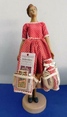 £0.66 • Buy 1950s Rubber Housewife Doll W' Sewing Caddy Dress! Needles Thimbles Pincushion