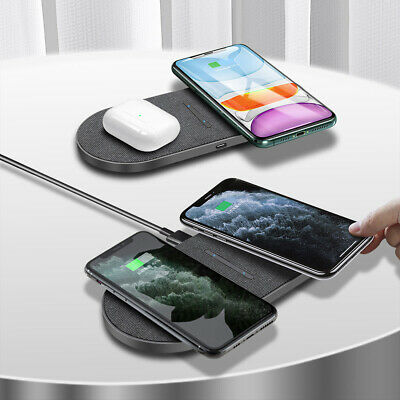 AU24.98 • Buy 30W Qi Wireless Charger Mat Dual Charging Pad For Apple AirPods IPhone Samsung
