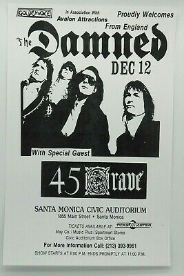 $14.95 • Buy The Damned With 45 Grave The Santa Monica Civic Vintage La Punk Concert Poster