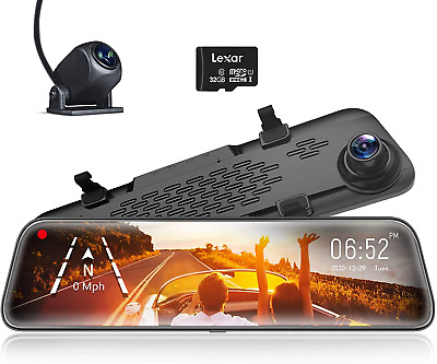 AU220.24 • Buy WOLFBOX Mirror Dash Cam Front And Rear Camera,12  IPS Full Touch Screen,1296P HD
