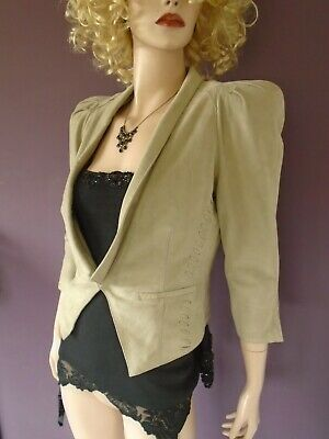 £24.99 • Buy  River Island Puff Sleeve Short Suede Jacket Real Leather Rock Chic 12