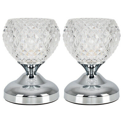 £26.99 • Buy MiniSun Touch Table Lamps - 2x Chrome Diamond Glass Bedside Dimmable Lights