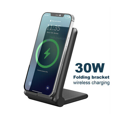 AU22.59 • Buy AU 30W Qi Fast Wireless Charger Stand Dock Pad For Apple AirPods Iphone 12 11 XS