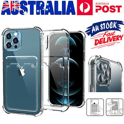 AU8.99 • Buy Clear Card Holder TPU Shockproof Case Cover For IPhone 7 8 Plus XS 11 12 Pro Max