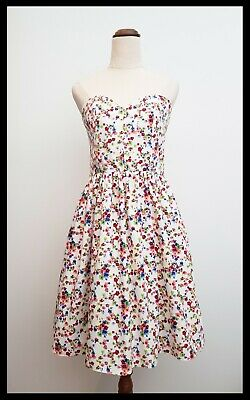 AU30 • Buy ASOS Women's White Floral Fit & Flare Strapless Sweetheart Dress Size 10-12