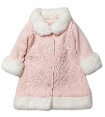 £25.99 • Buy Baby Girl Knitted Coat Fur Trim Cable Spanish Romany