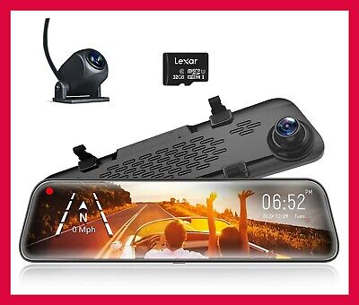 AU239.99 • Buy Product WOLFBOX Mirror Dash Cam Front And Rear Camera,12  IPS Full Touch Screen,