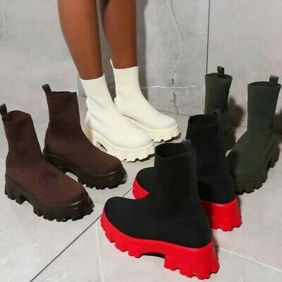 £23.99 • Buy Womens Chunky Platform Sole Chelsea Boots Ankle Stretch Goth Punk Shoes Size