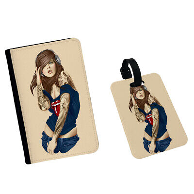 £4.99 • Buy Sexy Girl Listening Music Rap Tattoo Headset Passport Case Cover Tag