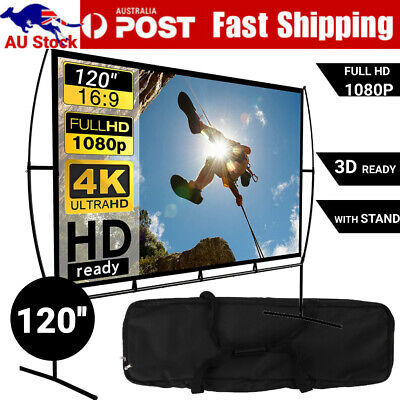 AU121.10 • Buy 120 Inch Projector Screen With Stand Home Theater Outdoor Movie Screen Cinema 4K