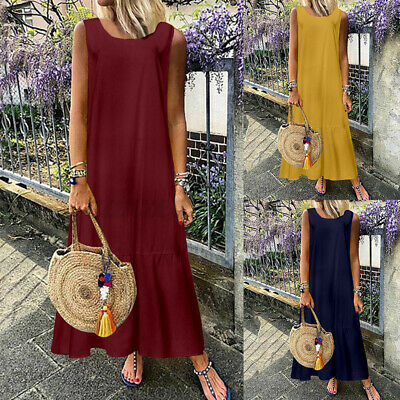 AU16.81 • Buy SIZE Women Sleeveless Tiered Dress Ladies Summer Casual Beach Party Maxi Dresses