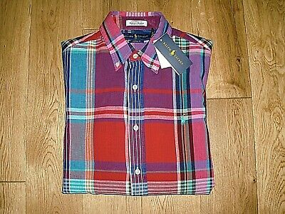 £37.99 • Buy Mens Ralph Lauren Polo 'indian Madras' L/s Red Multi Check Shirt Small £109 Bnwt