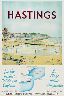 £3.75 • Buy TX504 Vintage Hastings Travel Poster Holiday In England A2/A3/A4