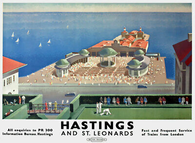 £3.75 • Buy TX542 Vintage Hastings St Leonards Travel Poster British Railway A2/A3/A4