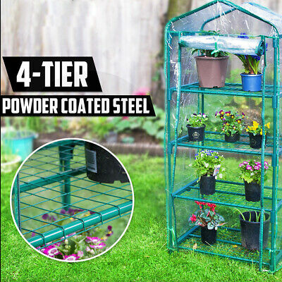 £24.49 • Buy 3/4 Tier Mini Greenhouse PVC Frame Garden Plant With Cover Rollup Door Outdoor