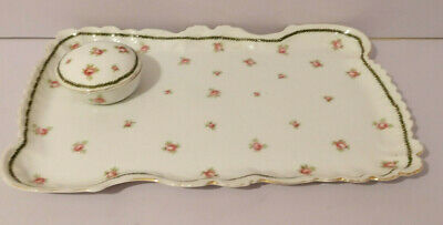 £12 • Buy Antique Dressing Table Tray & Matching Pill Trinket Pot White With Pink Roses