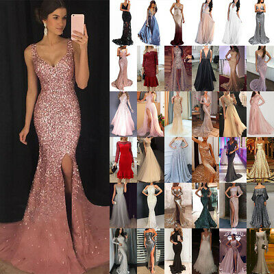 £19.99 • Buy Ladies Sequins Cocktail Evening Party Glitter Long Maxi Dress Prom Gown Dresses
